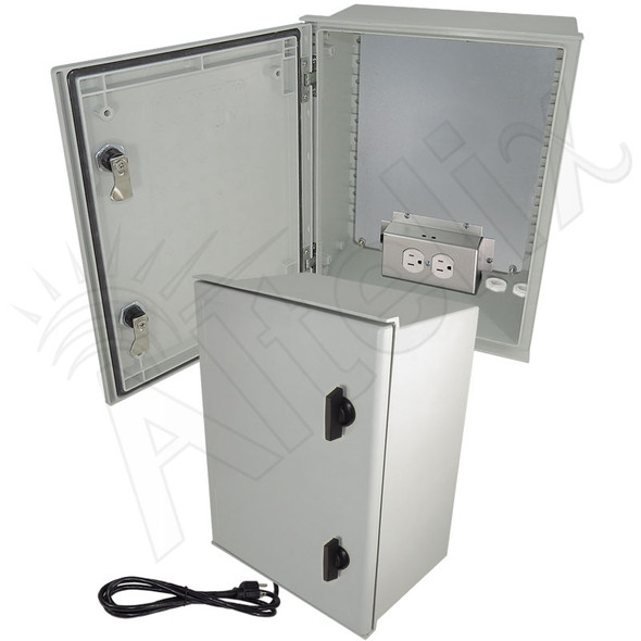 Altelix 16x12x8 Fiberglass FRP NEMA 4X / IP66 Heated Weatherproof Equipment Enclosure with Equipment Mounting Plate, 120VAC Outlets & Power Cord