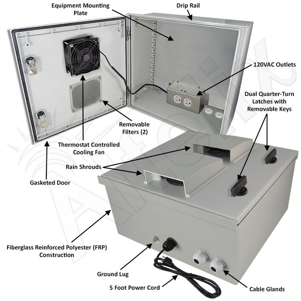 Altelix 16x16x8 Fiberglass FRP NEMA 3x / IP65 Weatherproof Equipment Enclosure with Cooling Fan, Equipment Mounting Plate and 120VAC Outlets and Power Cord