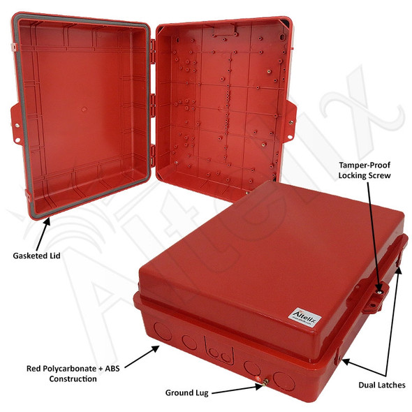 Altelix 17x14x6 Inch Red Polycarbonate + ABS Weatherproof NEMA Enclosure