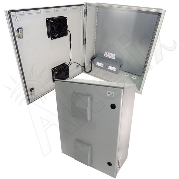 Altelix 24x20x9 Vented Fiberglass Heated Weatherproof NEMA Enclosure with Dual Cooling Fans, 400W Heater and 120 VAC Outlets