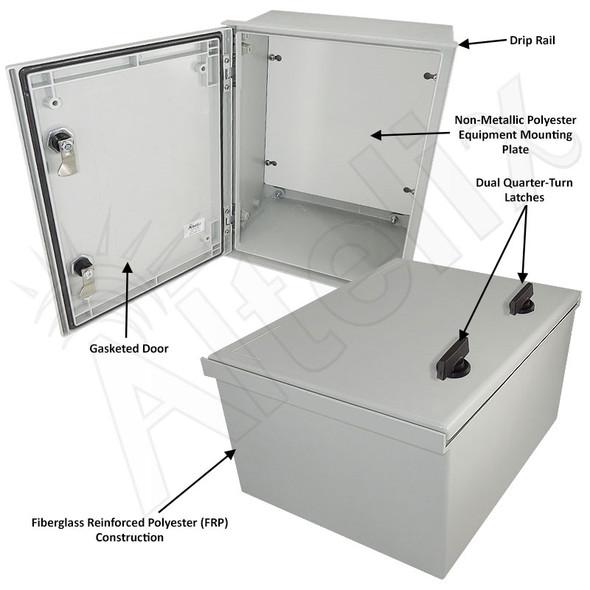 Altelix 16x12x8 NEMA 3X Fiberglass Indoor / Outdoor RF Transparent WiFi Access Point Enclosure with Non-Metallic Equipment Mounting Plate