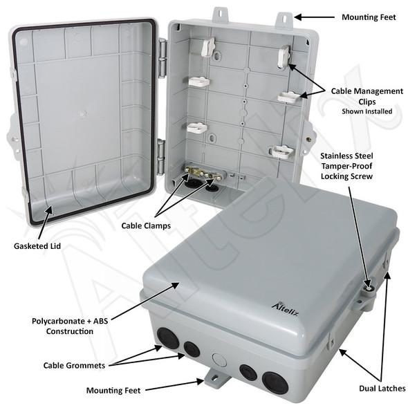 Altelix 12x9x5 IP66 NEMA 4X PC+ABS Plastic Weatherproof Utility Box with Hinged Door