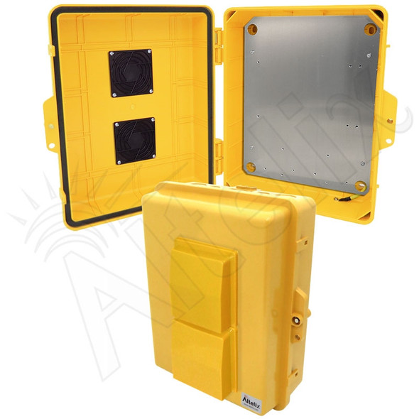 Altelix 14x11x5 Yellow Polycarbonate + ABS Vented Weatherproof NEMA Enclosure with Aluminum Mounting Plate