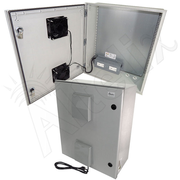 Altelix 24x20x9 Vented Fiberglass Heated Weatherproof NEMA Enclosure with Dual Cooling Fans, 400W Heater, 120 VAC Outlets & Power Cord