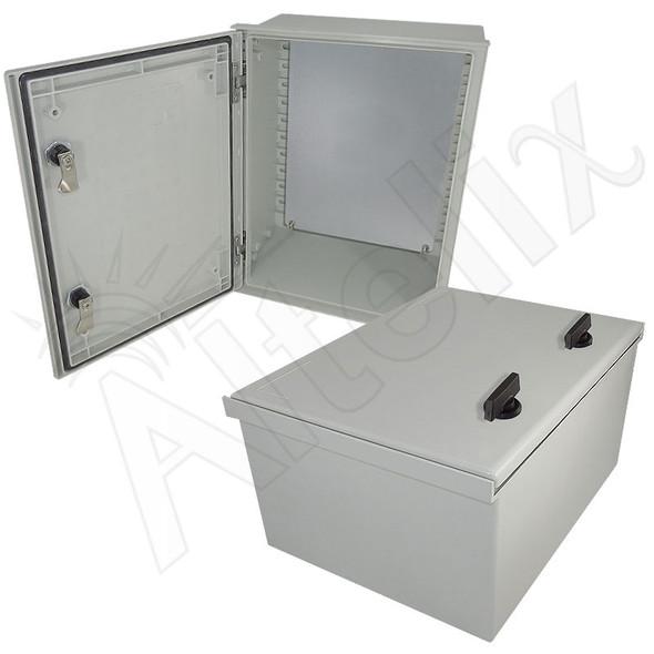 Altelix 16x12x8 Fiberglass FRP NEMA 3x / IP65 Weatherproof Equipment Enclosure with Galvanized Steel Equipment Plate