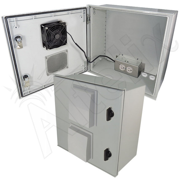 Altelix 16x16x8 Fiberglass FRP NEMA Weatherproof Equipment Enclosure with Heater, Cooling Fan, Equipment Mounting Plate and 120VAC Outlets
