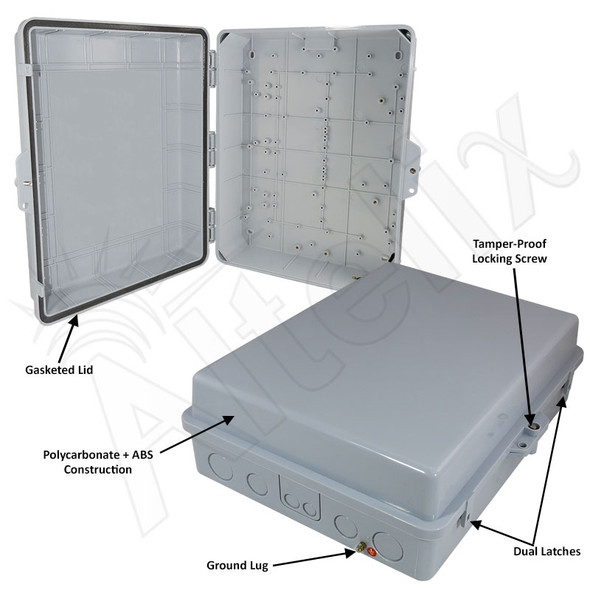 Altelix 17x14x6 Inch Polycarbonate + ABS Weatherproof NEMA Enclosure