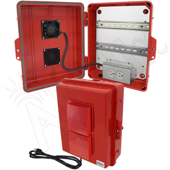 Altelix 14x11x5 Red Polycarbonate + ABS Vented Fan Cooled Weatherproof DIN Rail NEMA Enclosure with Aluminum Mounting Plate, 120 VAC Outlets & Power Cord