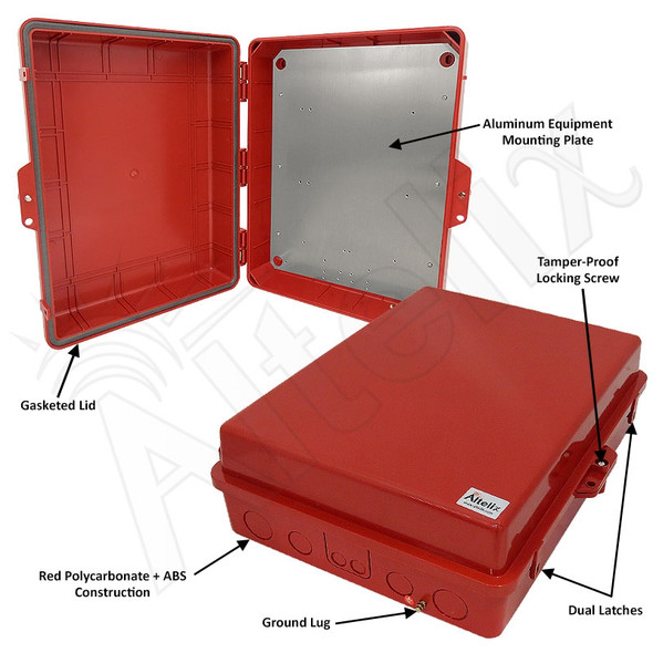 Altelix 17x14x6 Inch Red Polycarbonate + ABS Weatherproof NEMA Enclosure with Aluminum Mounting Plate