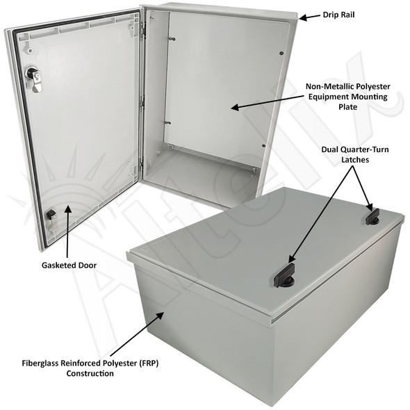 Altelix 24x16x9 NEMA 3X Fiberglass Indoor / Outdoor RF Transparent WiFi Access Point Enclosure with Non-Metallic Equipment Mounting Plate