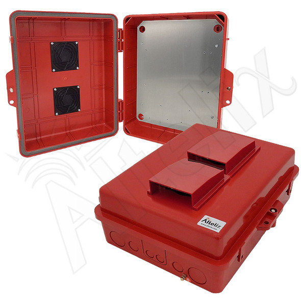 Altelix 14x11x5 Red Vented Polycarbonate + ABS Weatherproof NEMA Enclosure with Aluminum Equipment Mounting Plate