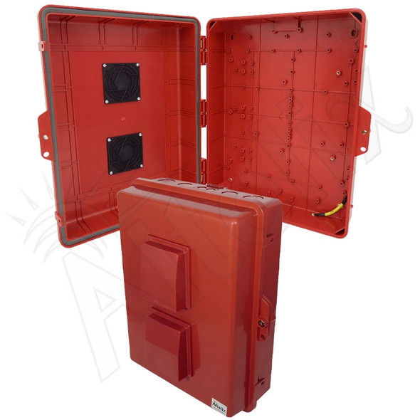 Altelix 17x14x6 Inch Red Polycarbonate + ABS Vented Weatherproof NEMA Enclosure