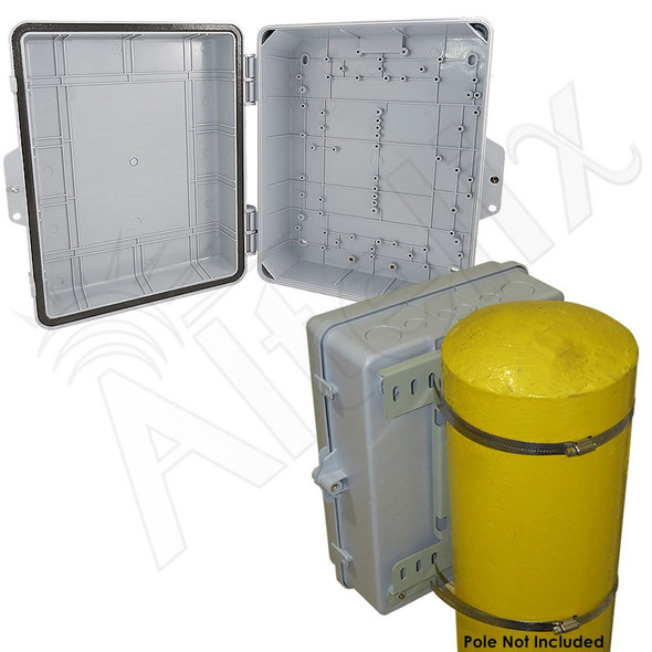 Altelix 14x11x5 IP55 NEMA 3R PC+ABS Plastic Weatherproof Pole Mount Utility Enclosure with Hinged Door