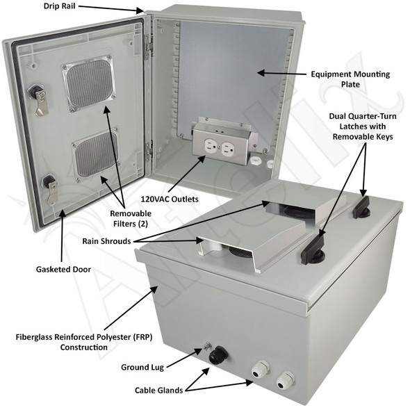 Altelix 16x12x8 Fiberglass FRP Vented Weatherproof NEMA Equipment Enclosure with Equipment Mounting Plate and 120VAC Outlets