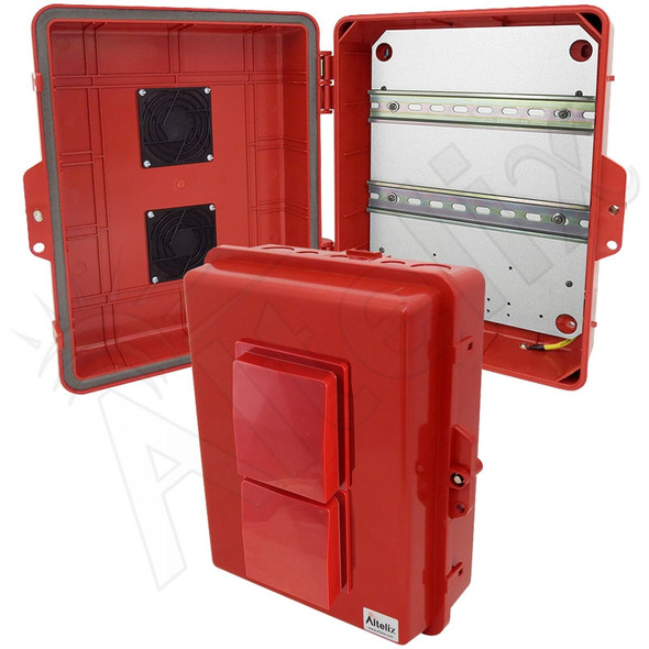 Altelix 14x11x5 Vented Red DIN Rail Polycarbonate + ABS Weatherproof NEMA Enclosure