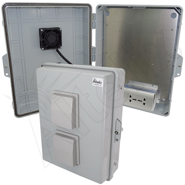 Altelix 17x14x6 Vented Polycarbonate + ABS Weatherproof NEMA Enclosure with 100-240 VAC Universal Power Outlet & Cooling Fand