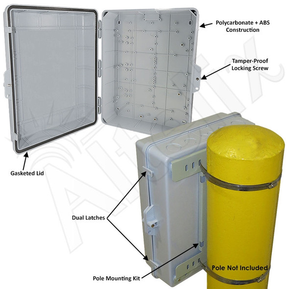 Altelix 17x14x6 Inch Polycarbonate + ABS Pole Mount Weatherproof NEMA Enclosure