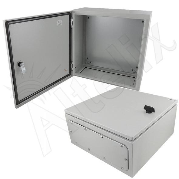 Altelix 16x16x8 Steel NEMA 4x / IP66 Weatherproof Equipment Enclosure with Blank Steel Equipment Mounting Plate