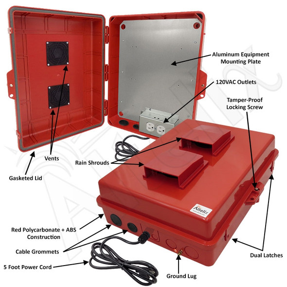 Altelix 17x14x6 Red Polycarbonate + ABS Vented Weatherproof NEMA Enclosure with Aluminum Mounting Plate, 120 VAC Outlets & Power Cord