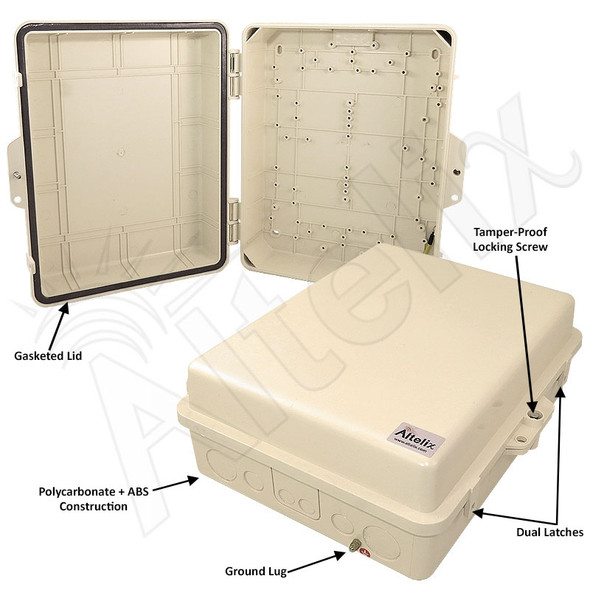 Altelix 14x11x5 IP55 NEMA 3R PC+ABS Light Ivory Plastic Weatherproof Utility Enclosure with Hinged Door