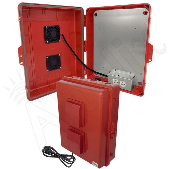 Altelix 17x14x6 Red Polycarbonate + ABS Vented Fan Cooled Weatherproof NEMA Enclosure with Aluminum Mounting Plate and 120 VAC Outlets & Power Cord