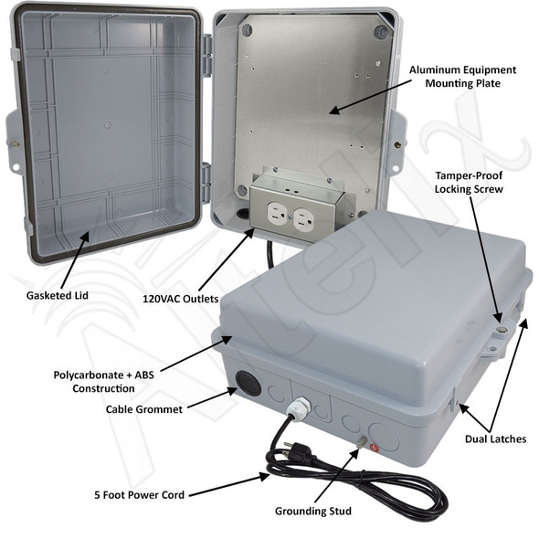 Altelix 14x11x5 Polycarbonate + ABS Weatherproof NEMA Enclosure with Aluminum Mounting Plate, 120 VAC Outlets and Power Cord