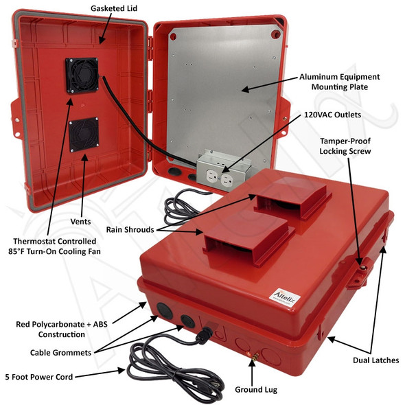 Altelix 17x14x6 Red Vented Polycarbonate + ABS Weatherproof NEMA Enclosure with 120 VAC Outlets, Power Cord & 85°F Turn-On Cooling Fan