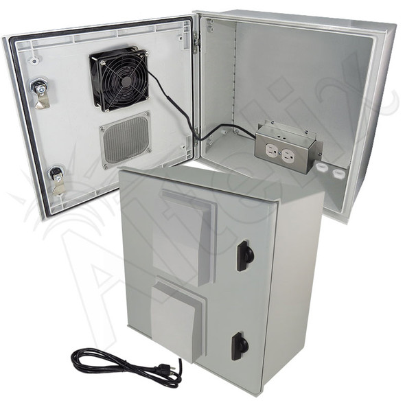Altelix 16x16x8 Vented Fiberglass Weatherproof NEMA Enclosure with 120 VAC Outlets, Power Cord, 200W Heater and 85°F Turn-On Cooling Fan