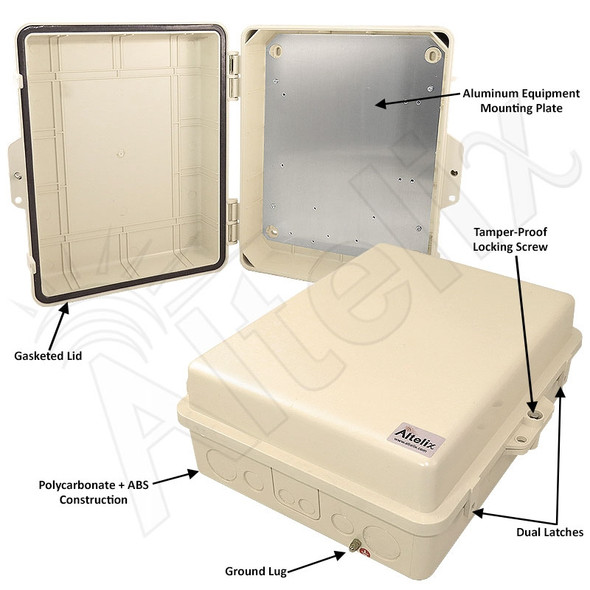 Altelix 14x11x5 Light Ivory PC+ABS Polycarbonate / ABS Weatherproof NEMA Enclosure with Aluminum Equipment Mounting Plate