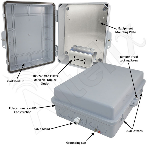 Altelix 14x11x5 Polycarbonate + ABS Weatherproof NEMA Enclosure with 100-240 VAC Universal Power Outlet