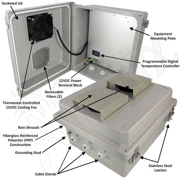 Altelix 14x12x8 Fiberglass Weatherproof Vented NEMA Enclosure with 12 VDC Cooling Fan & Digital Temperature Controller