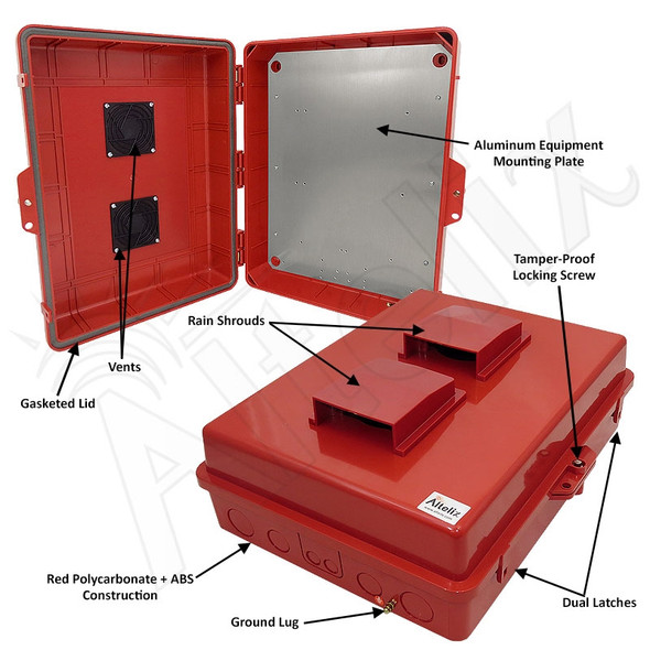 Altelix 17x14x6 Inch Red Polycarbonate + ABS Vented Weatherproof NEMA Enclosure with Aluminum Mounting Plate