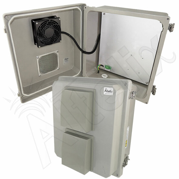 Altelix 14x12x8 Fiberglass Vented Weatherproof NEMA Enclosure with 24VDC Cooling Fan