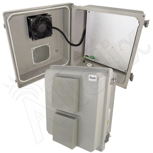 Altelix 14x12x8 Fiberglass Vented Weatherproof NEMA Enclosure with 48VDC Cooling Fan