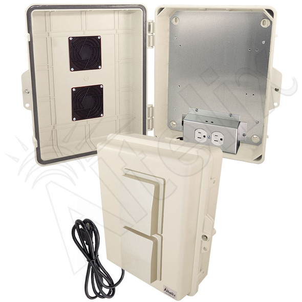 Altelix 14x11x5 Light Ivory Vented Polycarbonate + ABS Weatherproof NEMA Enclosure with Aluminum Mounting Plate, 120 VAC Outlets and Power Cord