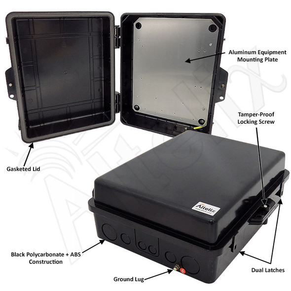 Altelix 14x11x5 Inch Black Polycarbonate + ABS Weatherproof NEMA Enclosure with Aluminum Mounting Plate