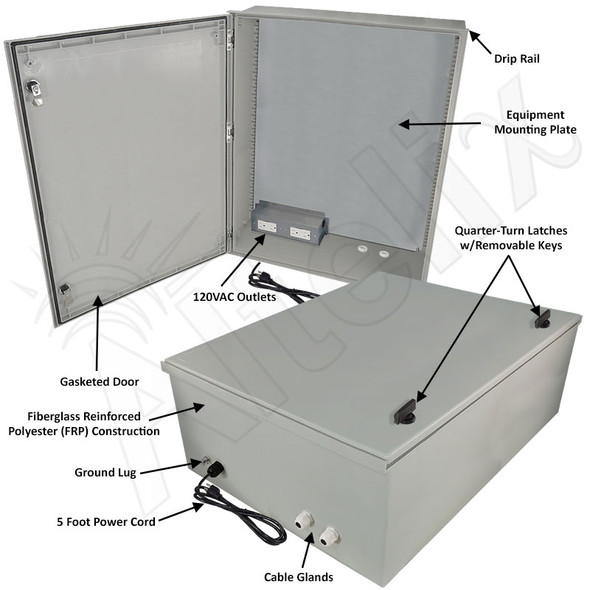 Altelix 32x24x12 Fiberglass FRP NEMA 3x / IP65 Weatherproof Equipment Enclosure with Equipment Mounting Plate, 120VAC Outlets and Power Cord