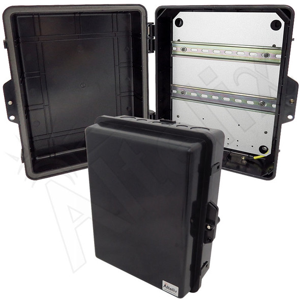 Altelix 14x11x5 Stealth Black DIN Rail Polycarbonate + ABS Weatherproof NEMA Enclosure