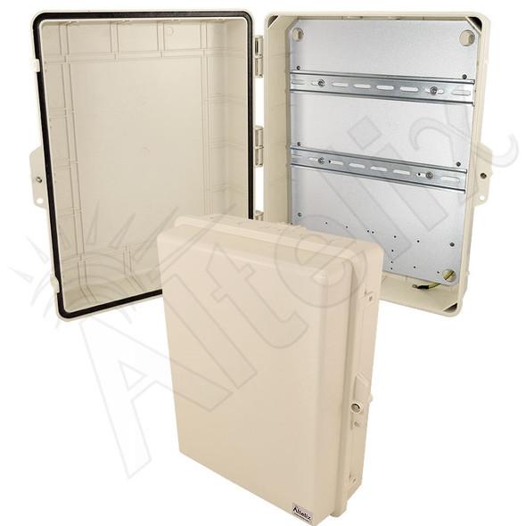 Altelix 17x14x6 Light Ivory DIN Rail Polycarbonate + ABS Weatherproof NEMA Enclosure with Aluminum Equipment Mounting Plate