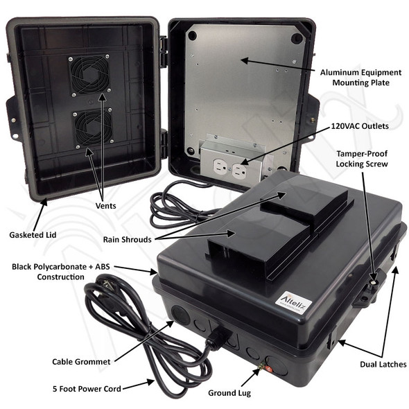 Altelix 14x11x5 Black Polycarbonate + ABS Vented Weatherproof NEMA Enclosure with Aluminum Mounting Plate, 120 VAC Outlets & Power Cord