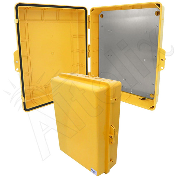 Altelix 17x14x6 Inch Yellow Polycarbonate + ABS Weatherproof NEMA Enclosure with Aluminum Mounting Plate