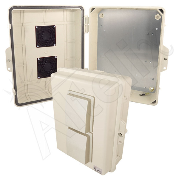 Altelix 14x11x5 Light Ivory Vented Polycarbonate + ABS Weatherproof NEMA Enclosure with Aluminum Equipment Mounting Plate