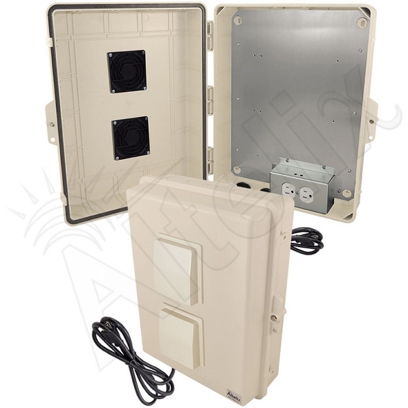 Altelix 17x14x6 Light Ivory Polycarbonate + ABS Vented Weatherproof NEMA Enclosure with Aluminum Mounting Plate, 120 VAC Outlets & Power Cord
