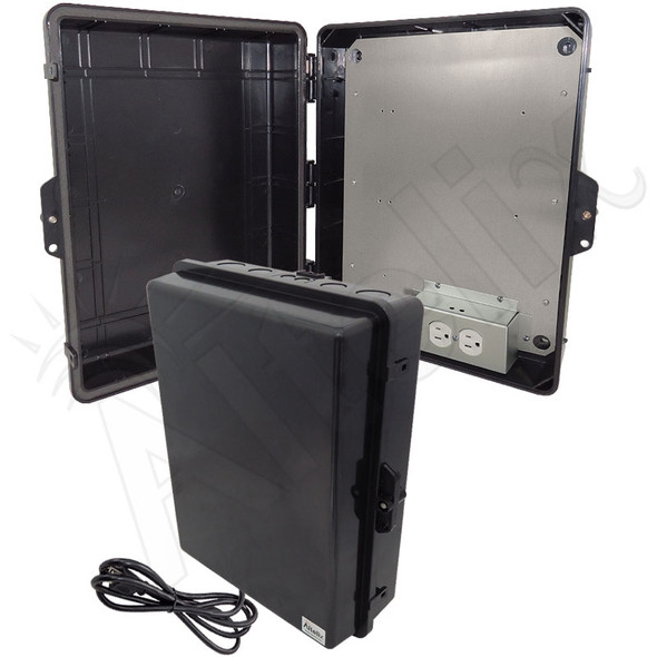 Altelix 17x14x6 Black Polycarbonate + ABS Weatherproof NEMA Enclosure with Aluminum Mounting Plate, 120 VAC Outlets & Power Cord