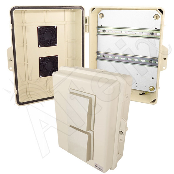 Altelix 14x11x5 Light Ivory Vented DIN Rail Polycarbonate + ABS Weatherproof NEMA Enclosure