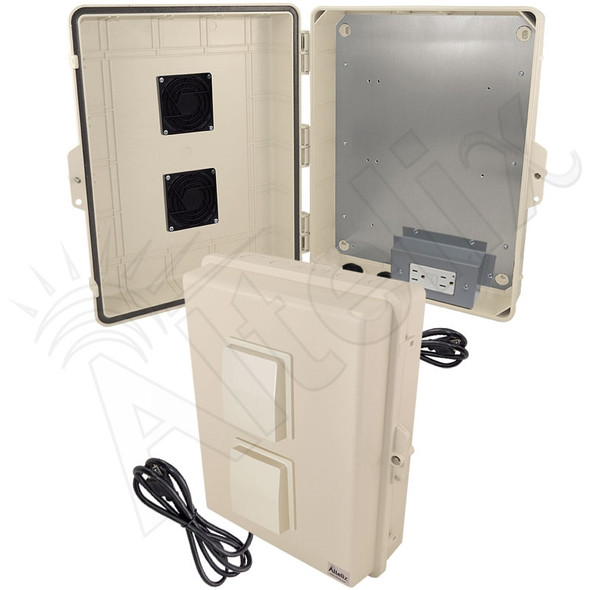 Altelix 17x14x6 Light Ivory Polycarbonate + ABS Vented Weatherproof NEMA Enclosure with Aluminum Mounting Plate, 120 VAC GFCI Outlets & Power Cord