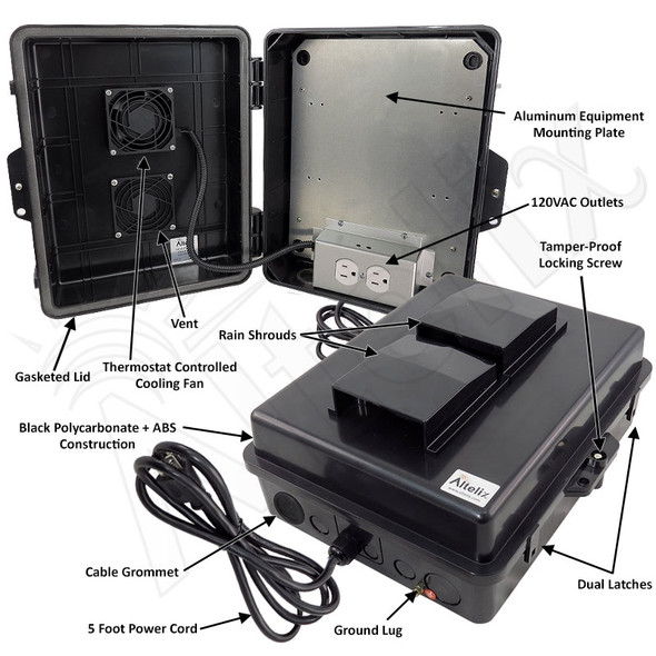 Altelix 14x11x5 Black Polycarbonate + ABS Vented Fan Cooled Weatherproof NEMA Enclosure with Aluminum Mounting Plate, 120 VAC Outlets & Power Cord