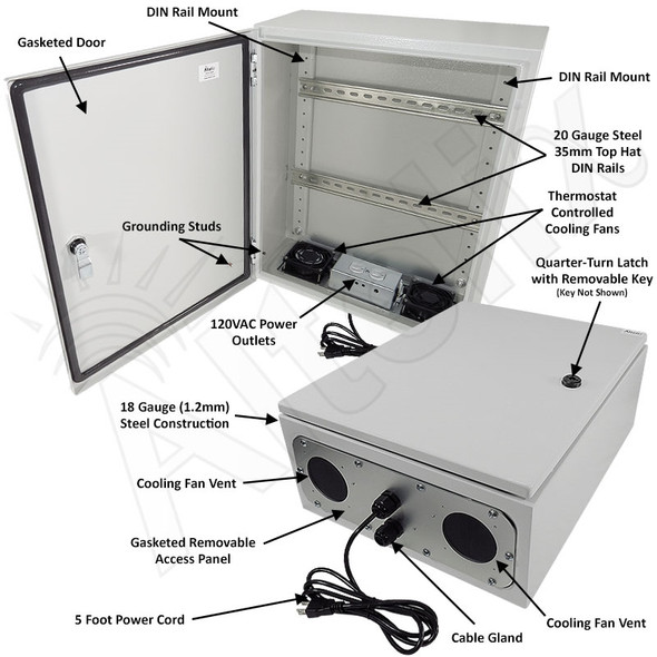 Altelix 20x16x8 Industrial DIN Rail Steel Weatherproof NEMA Enclosure with Dual Cooling Fans, 120 VAC Outlets and Power Cord