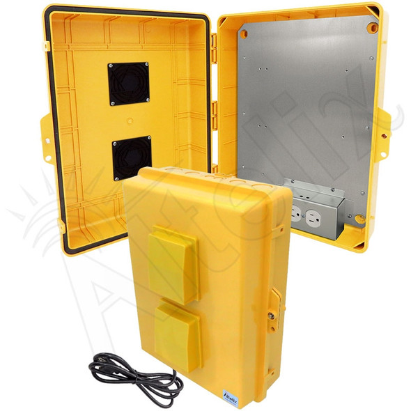 Altelix 17x14x6 Yellow Polycarbonate + ABS Vented Weatherproof NEMA Enclosure with Aluminum Mounting Plate, 120 VAC Outlets & Power Cord