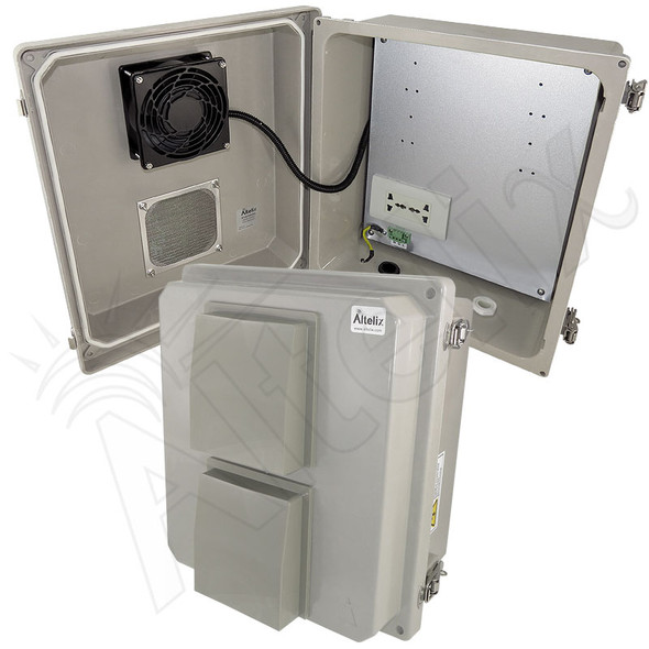 Altelix 14x12x8 Vented Fiberglass Weatherproof NEMA Enclosure with Cooling Fan, Heating System and Universal 100-240 VAC Outlets